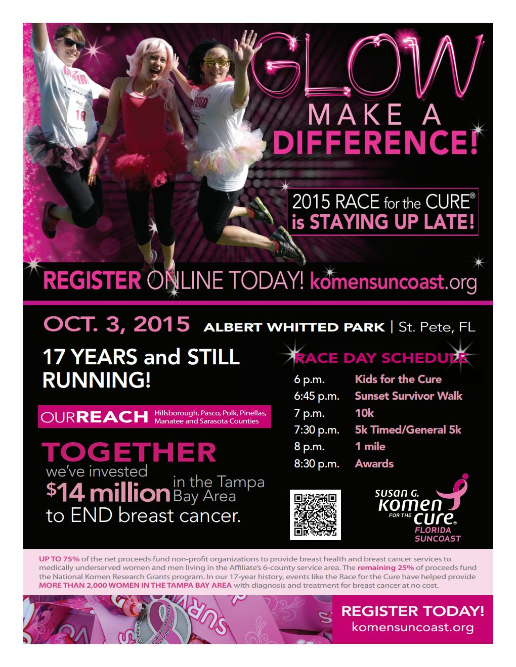 susan g komen florida suncoast race day schedule